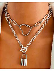 cheap -retro silver chain love lock diy pendant fashion style necklace female