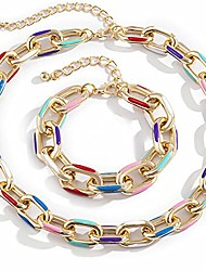 cheap -2pcs cuban link chain choker necklace set for women,hip hop colorful painted aluminum chain chunky collar necklace bracelet,thick chain statement necklace party jewelry set