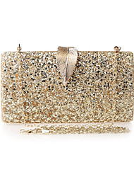 cheap -Women's Bags Polyester Evening Bag Sequin Chain Solid Color Party Wedding Evening Bag Chain Bag Champagne Silver Gold Black