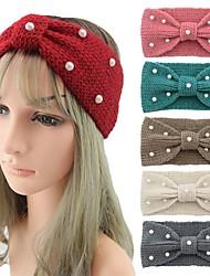 cheap -Knitted Wool Headband Pearl Flat Butterfly Hair Band Manual Hair Accessories Face Washing Hair Hoop Ear Protection Headband