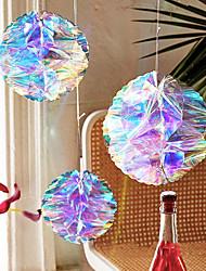 cheap -3pcs Rainbow Film Laser Plastic Colorful Gradient Paper Flower Ball Three-piece Honeycomb Ball Party Wedding Decoration Birthday Party Baking Accessories Cake Scene Decoration Three-color Hot Air Balloon Cloud Decoration Flag Plug-in Card