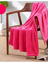 cheap -Pure Color Flannel Blanket Summer Air Conditioning Small Blanket Office Nap Blanket Single-layer Double-sided Fleece Four Seasons Thin Blanket