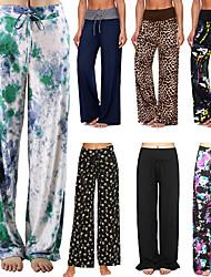 cheap -Women's High Waist Yoga Pants Wide Leg Drawstring Pants Bottoms Quick Dry Moisture Wicking Camo / Camouflage Dark Grey Amethyst Bule / Black Zumba Yoga Fitness Summer Sports Activewear Stretchy Loose