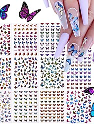 cheap -12 Sheets Butterfly Nail Art Stickers Decals 3D Self-Adhesive Nail Decals Butterfly Designs Nails Supplies Butterfly Stickers for DIY Colorful Laser Butterflies Nails Manicure Decor