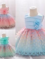 cheap -Kids Little Girls' Dress Dot Ribbon bow Daily Wear L1925XZ-Apple Green L1925XZ-meat meal L1925XZ-Champagne Sleeveless Casual / Daily Dresses All Seasons 0-2 Years
