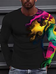 cheap -Men's Unisex Tee T shirt Shirt 3D Print Graphic Prints Rendering Print Long Sleeve Daily Tops Casual Designer Big and Tall Black