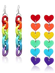 cheap -2 pairs creative lightweight resin heart rainbow chain stud earrings cool weird acrylic rainbow chain dangle drop earrings sets for women girls statement jewelry gifts (2 pairs)