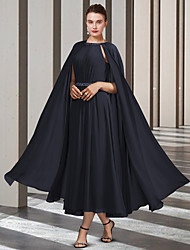 cheap -A-Line Mother of the Bride Dress Elegant Jewel Neck Ankle Length Chiffon Sleeveless with Pleats Beading Crystal Brooch 2021