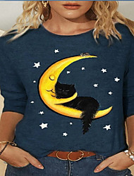 cheap -Women's Plus Size Tops Shirt Animal Long Sleeve Round Neck Casual Comfortable Dailywear Vacation Polyester Fall Spring Couple cat Half moon cat