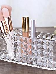 cheap -Makeup Brush Holder Organizer Acrylic 3 Grid Make Up Cosmetic Brushes Holder