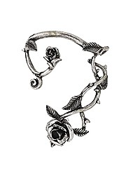 cheap -retro rose flower climbers crawler jacket earrings sparkly metal left ear cuff wrap clip stud earring for women girls fashion jewelry 1 pc (antique silver)
