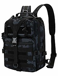 cheap -fishing tackle backpack storage bag, waterproof outdoor cross body sling shoulder backpack with rod holder fishing gear bag hunting backpack (black camo)