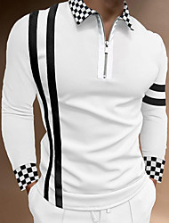 cheap -Men's Golf Shirt Other Prints Check Color Block Patchwork Print Long Sleeve Casual Tops Business Simple Fashion Classic Gray White / Work