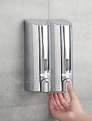 cheap -2PCS Soap Dispenser Wall Hanging 380Ml Wall-Mounted Imitation Stainless Steel Soap Dispenser Chrome-Plated Soap Dispenser High-Grade Manual Soap Dispenser Lotion Bottle