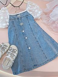 cheap -[100-150cm] sweet lace puff sleeve denim dress