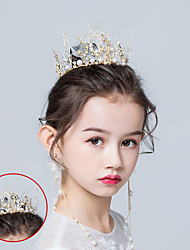 cheap -Children's Bride Crown Headdress Handmade Bride Crown Wedding Hair Dress Shooting Dress Accessories