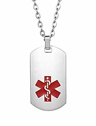cheap -medical alert emergency pendant necklace for men women with free engraving identification alert emc dog tags pendant necklace, 22 inch