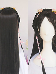 cheap -halloweencostumes Wigs For Women Vintage Wig Ancient Chinese Wig Ponytail Long Straight Black Hair Air Bangs Modelling Wig Custom Product