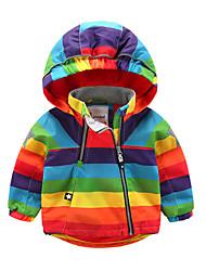 cheap -Kid's Boys' Jacket & Coat Rainbow Hooded Jacket (Thickened) Rainbow Rainbow 1-3 Years / Fall / Winter