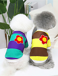 cheap -Dog Cat Sweatshirt Color Block Flower Adorable Cute Dailywear Casual / Daily Winter Dog Clothes Puppy Clothes Dog Outfits Warm Yellow Red Blue Costume for Girl and Boy Dog Plush S M L XL XXL