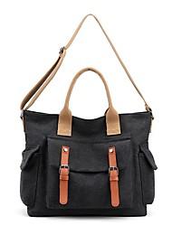 cheap -Women's Bags Canvas Top Handle Bag Zipper Daily Outdoor 2021 Tote Handbags Purple Gray Khaki Black