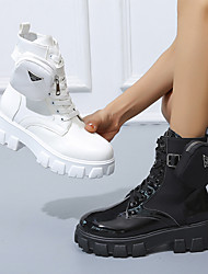 cheap -Women's Boots Platform Round Toe Mid Calf Boots Daily PU Buckle Solid Colored White Black / Booties / Ankle Boots