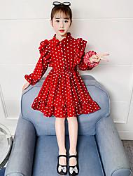 cheap -Kid's Little Girls' Dress Dot Red Long Sleeve Chic & Modern Elegant & Luxurious Dresses