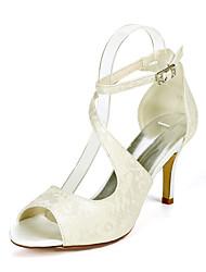 cheap -Women's Wedding Shoes Stiletto Heel Open Toe Wedding Sandals Wedding Lace Sparkling Glitter Buckle Floral Light Purple Ivory White