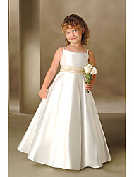 cheap -Ball Gown Floor Length Flower Girl Dresses Wedding Polyester Sleeveless Spaghetti Strap with Solid