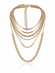 cheap -bohemian layered cuban link chain choker necklaces set flat herringbone necklace paperclip chain necklace punk prom party festival accessories for women and girls (gold)