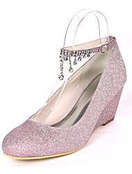 cheap -Women's Wedding Shoes Wedge Heel Round Toe Wedding Pumps Wedding Gleit Rhinestone Solid Colored Light Purple Champagne Silver