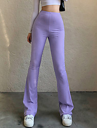 cheap -Women's Basic Fashion Comfort Chinos Cotton Slim Casual Weekend Pants Plain Full Length Wide Leg Elastic Waist Blue Purple Green Black Brown