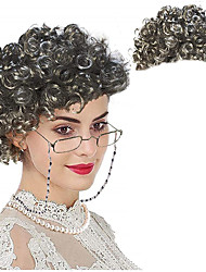 cheap -halloweencostumes Grey Wig Old Lady Wig  - Grandmother Wig Capmadea Granny Glasses Eyeglass Chains Cords Strap Pearl Beads Only Wig