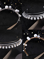 cheap -Korean Bride Crown Headdress Simple Princess Pearl Rhinestone Crown Headband Wedding Hairstyle Wedding Dress Accessories