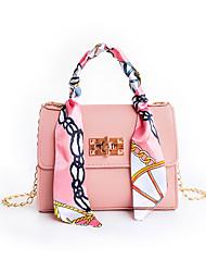 cheap -Women's Bags PU Leather Crossbody Bag Buttons Zipper Fashion Daily Date Handbags Chain Bag Blue Almond Blushing Pink White