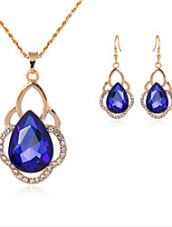 cheap -Women's Synthetic Sapphire Bridal Jewelry Sets Geometrical Drop Fashion Earrings Jewelry Gold For Party Gift Daily Festival 1 set