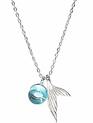 cheap -necklaces for women girls - mermaid fish tail pendant clavicle chain women necklace jewelry accessory gift, pendant chain jewelry for girls - silver
