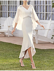 cheap -Sheath / Column Mother of the Bride Dress Elegant V Neck Asymmetrical Tea Length Chiffon Sleeveless with Beading Ruffles Crystal Brooch 2021