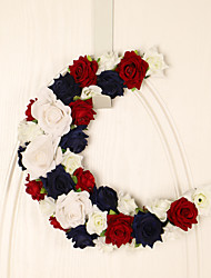 cheap -Fall Wreaths American Independence Day Decoration Pendant Red White Blue Rose Moon Hanging Home Front Door Door Hanging for Home Decor Farmhouse Indoor Outdoor Window Autumn Thanksgiving Decoration