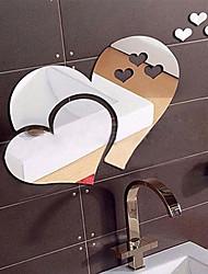 cheap -Love Heart Shape Mirror Wall Stickers Vinyl Art Mural Removable Sticker Room Decor Sofa TV Background Home Wall Decor