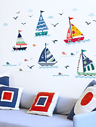 cheap -Manufacturers Wholesale New Sail Cartoon Children'S Room Kindergarten Decoration Pvc Can Be Removed Wall Stickers Painting 50*70cm