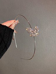 cheap -1PCS Simple Geometric Hollow Diamond-studded Butterfly Hair Bands Cold Wind Design Headband Net Red Temperament Personality Trendy Hair Accessories Women