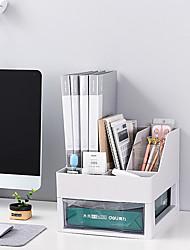 cheap -Plastic Back to school gift Multi-layer Large Capacity Desk Organizer Desktop Storage Box Pen Pencil Holder White