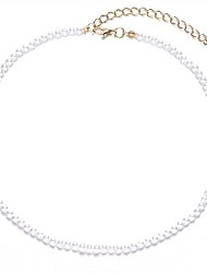 cheap -round imitation pearl necklace wedding bride white pearl necklace-diameter of pearl 4mm gold