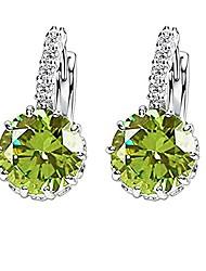 cheap -colorful zircon earrings, elegant woman earrings, hoop earrings for women girls, ear studs jewelry accessories (1 pair) (emerald)