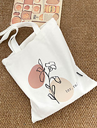 cheap -Canvas Shoulder storage bag back to school Halloween goody bag white flowers portable grocery shopping cloth book tote   34*39 cm