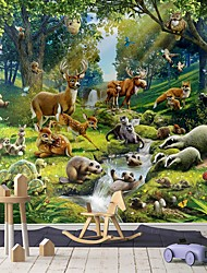 cheap -Mural Wallpaper Wall Sticker Covering Print Peel and Stick Self Adhesive Cartoon Happy Forest Animal Illustration Party Birthday PVC Vinyl Home Decorr