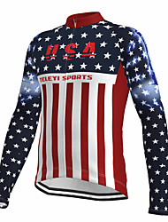 cheap -21Grams Men's Long Sleeve Cycling Jersey Spandex Red American / USA National Flag Bike Top Mountain Bike MTB Road Bike Cycling Quick Dry Moisture Wicking Sports Clothing Apparel / Athleisure