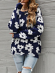cheap -Women's Sweater Knitted Floral Stylish Long Sleeve Sweater Cardigans Crew Neck Fall Winter Royal Blue