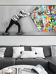 cheap -Wall Art Canvas Prints Painting Artwork Picture People Abstract Graffiti Home Decoration Decor Rolled Canvas No Frame Unframed Unstretched